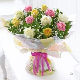 Happy Birthday Pastel Rose Handtied