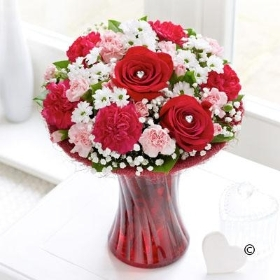 Pink & Red Love Vase (Carnations)